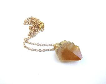 Citrine Drop Gold Plated Brass Chain Necklace Orange