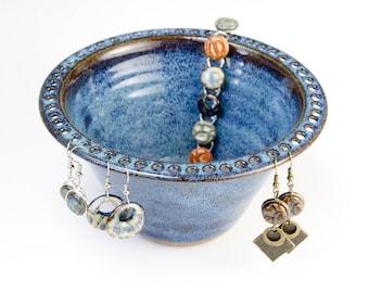 Earring Bowl in Celestial Glaze (deep blue) | jewelry bowl/ earring dish/ earring organizer/ earring display | Hand thrown stoneware pottery