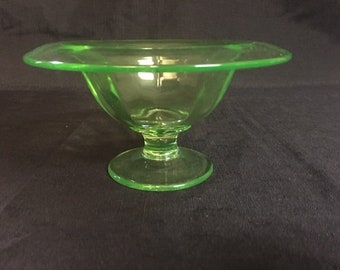 Green Vaseline Ribbed-Rolled Edge Pedestal Candy Dish
