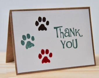 5 Paw Print Thank You Cards.  Pet Thank You Card Set.  Dog Thank You Cards.  Cat Thank You Cards. Pet Sitter. Dog Groomer. Veterinary Office