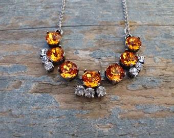 Tangerine Swarovski crystal Necklace Rhinestone Bar Necklace Antique silver