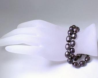 Gray Pearl Bracelet Faceted Pearl Bracelet Double Strand Bracelet June Birthstone Bracelet Real Pearl Bracelet Genuine Pearl Bracelet