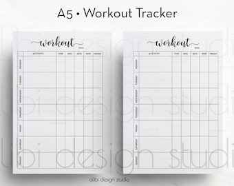 Workout Tracker, A5 Planner Insert, Workout Planner, Fitness Tracker, Workout Log, Printable Planner, Fitness Planner, Health Planner