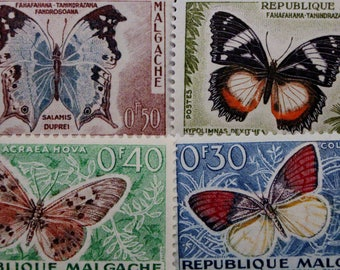 Madagascar Butterflies Postage Stamps // 1960 Vintage Postal Ephemera // Butterfly Stamps // Nature Stamps // Complete Set // Scrapbooking