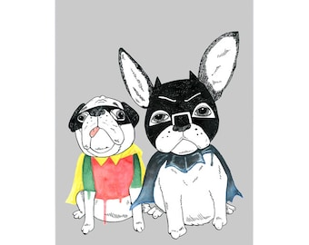 Frenchie and Pug Art Print