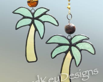 Stained Glass Palm Tree fan pull