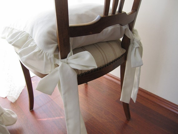 Chair Cushions With Ties Ruffle Linen Chair Cushion Covers   3 Sided  Ruffled Custom Ivory,gray,beige, White, French Country Shabby Chic Home
