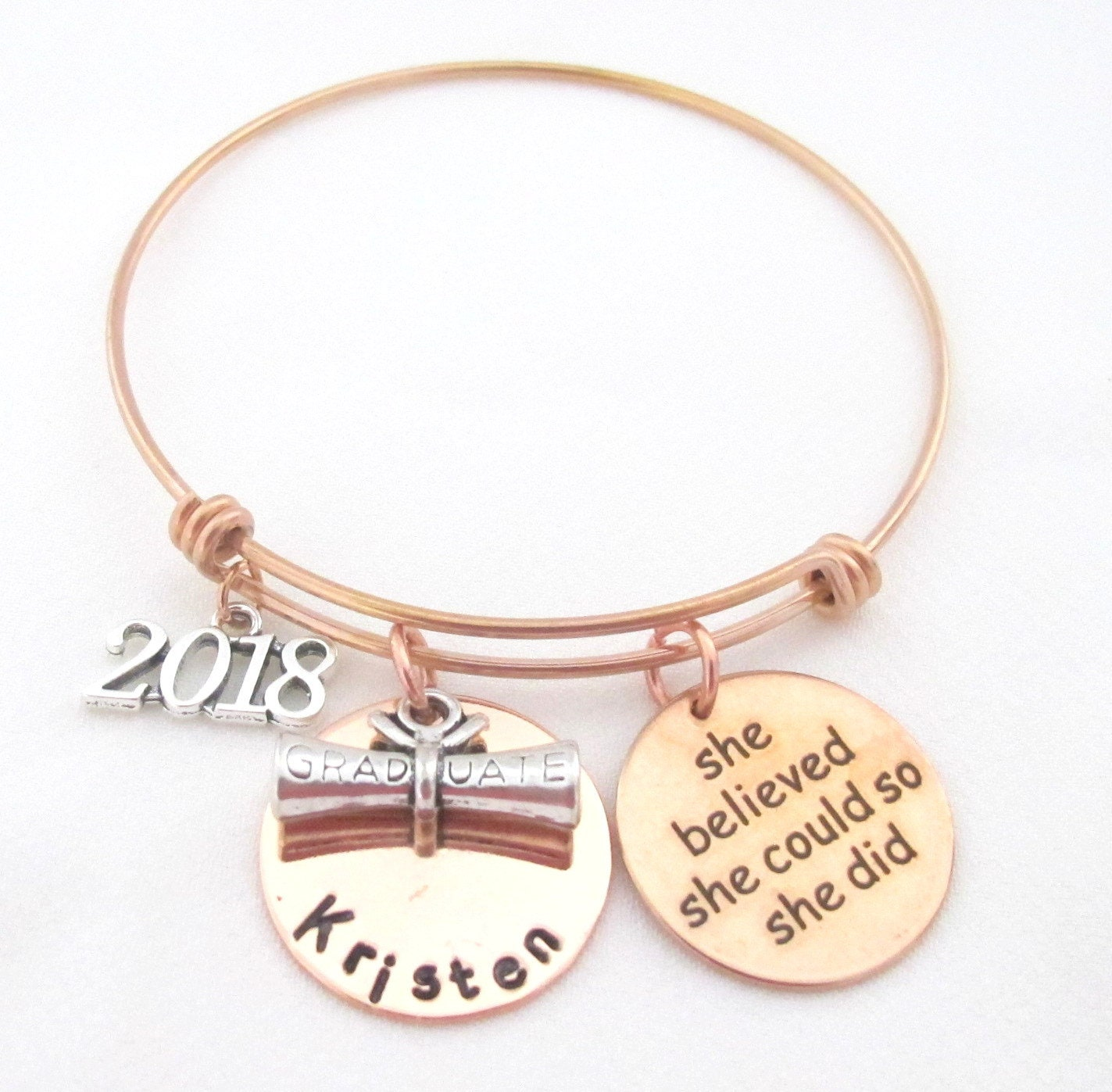 jewelry bracelet charm student teaching bangle for graduate education gift graduation pin teacher grad silver