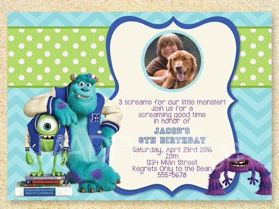 Monsters University Birthday Invitation Monsters Inc invite