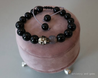 "Handmade natural gemstones and Swarovski crystal bracelet for women ""Rockglam"""