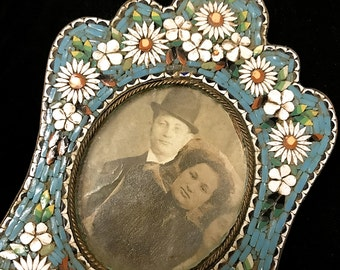 Antique Micro Mosaic Italian Floral Picture Frame, Reduced Price, Free Shipping USA