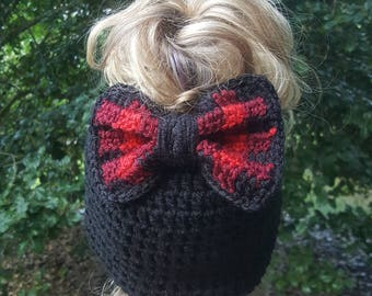 Messy bun crocheted hat with plaid bow