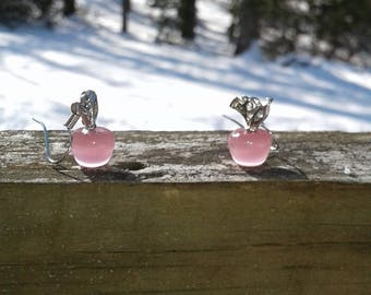 Pink earrings, Pink jewerly , apple jewerly , apple earrings, gift for her , gift for valentine day , valentine day