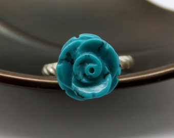 Carved Turquoise Rose Sterling Silver Ring - US0 to US12.0
