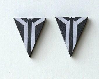 Art Deco earrings, Art deco earrings monochrome, Art Deco earrings black and white, MONOCHROME DECO STRIPES, sterling silver post fitting
