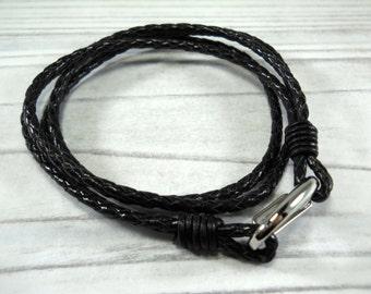Black Woven Leather Double Wrap Bracelet, Silver Tone Lobster Clasp, Men's Bracelet, Gift for Men, Men's Jewelry, Women's Bracelet