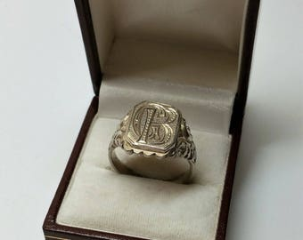 "21.1 mm SEAL RING 835 silver initials ""GB"" SR1039"