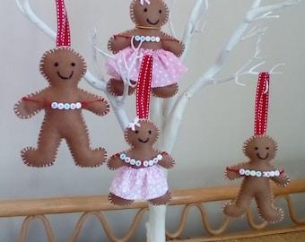 Felt gingerbread family,Christmas decorations,felt decorations, gingerbread family, Gingerbread hanging decorations,