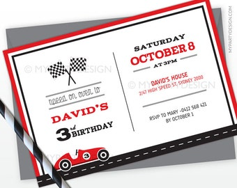 Car Race Party Invitation - Birthday Party - Horizontal Layout - PRINTABLE JPEG or PDF file