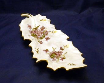 Vintage Arnart Japan Porcelain Purple Violets Trinket Tray, 1940s