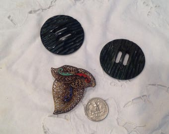Vintage dress clip with enameling