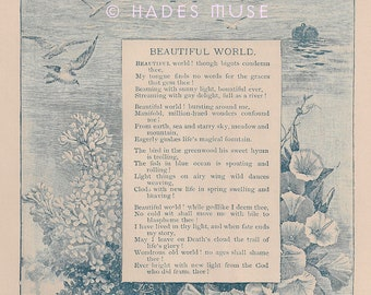 Leave On Death's Cloud-Beautiful World-Life's Magical Fountain-1800's Antique Vintage Art Print-Poem-Victorian Poetry-Sonnet-Ship-Sea