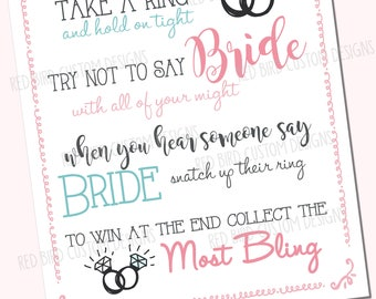 Greenery put a ring on it bridal shower game printable green ring bridal shower game wedding activity printbridal showerinvitesdiyringbachelorettedont say gameinstant download filmwisefo