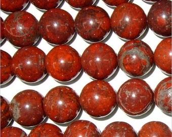 10mm Round Red Flower Jasper Beads Genuine Natural 15''L Semiprecious Gemstone Bead Wholesale Beads Supply
