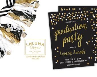 Graduation Invitation, Graduation Party Invitations, Graduation Announcement, Black and Gold Graduation Invites, Faux Gold Foil Invitation