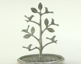 Tree of life with Birds Menorah Handmade by Shraga Landesman, Aluminium, Hanukkah