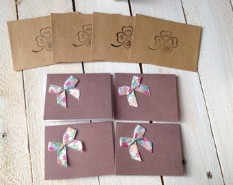 Set of 4 small cards made with love + Kraft envelope