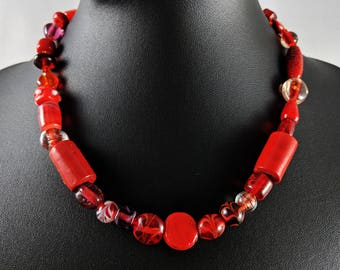 Murano Lampwork Art Glass Red Beaded Necklace
