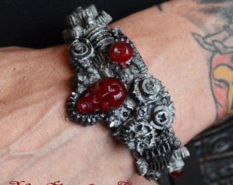 Halloween jewelry - Steampunk  Gear Bracelet -  Gears with Skull  Silver Tone - Cyberpunk Jewelry