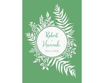 "5x7"" Personalized Print of Original Papercut - Customized with Your Names - Round Leafy Border"