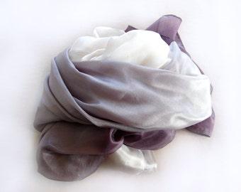 Grey Ombre Dip Dye Silk Scarf
