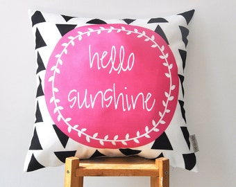 """Decorative Pillow, Geometric Pillow, Modern Nursery Pillow, Kids Pillow, Throw Pillow, Cushion Cover, Hot Pink  16"""" x 16"""""""