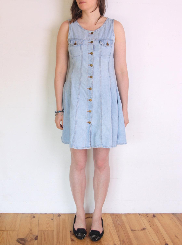 90s Denim Skater Dress Pinafore Dress Plus Size Mini