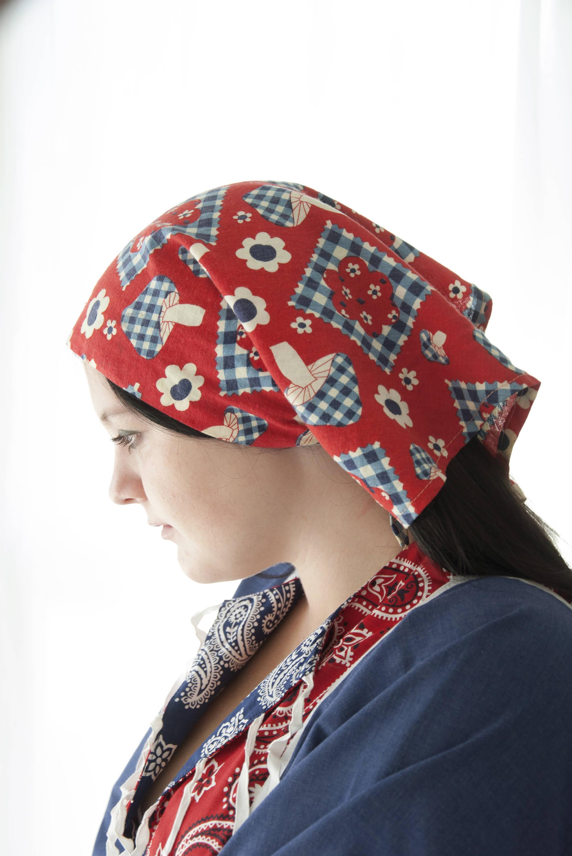 Vintage Mushroom Scarf Red Bandana Novelty Print Headscarf