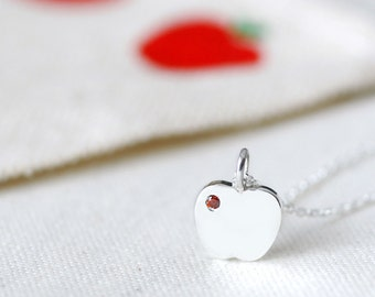Garnet Apple Necklace 925 Sterling Silver January Birthstone