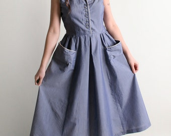 Vintage 1940s Dress - Iridescent Blue Day Dress with Rhinestone Buttons - Large