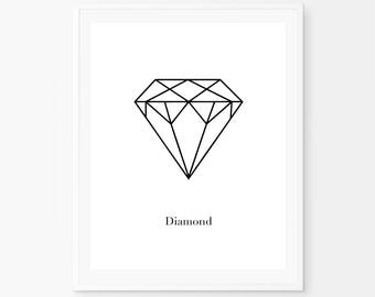 Printable woman gift, Diamond Print, Geometric diamond, Scandinavian Poster, Diamond Poster, Gem wall print, Origami print, modern art,