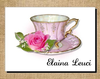 Beautiful Personalized Pink Elegance  Teacup Cup Tea Note Cards - Invitations - Thank You Cards for Bridal Shower or Luncheon ~ Bridal Gift