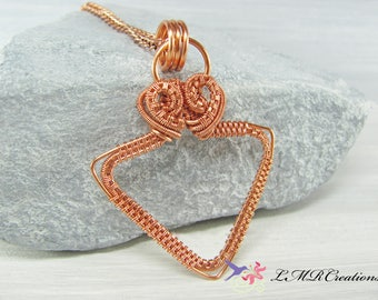 Copper Wire Wrapped Triangle Necklace, Copper Triangle Pendant, Copper Jewelry