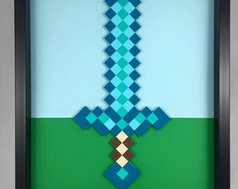 Framed Handmade Papercrafts - Minecraft Sword