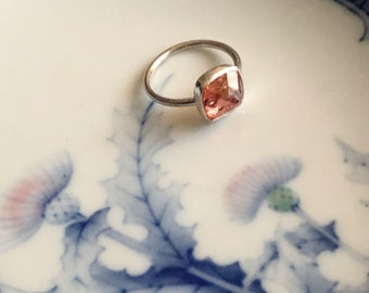 Brazilian Peach Topaz Engagement Ring
