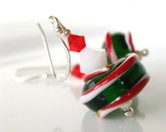 Rockin around the Christmas tree lampwork earrings