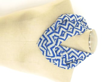 Blue and White Chevron Scarf - Blue Cowl - Chevron Infinity Scarf