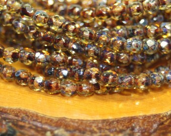 3mm Czech Firepolish, Faceted Round, 50 Beads, Amber Picasso