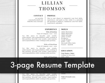3 Page Professional Resume Template for Word & Pages | CV Template | Resume Template | Instant Download Resume Template / CV Template