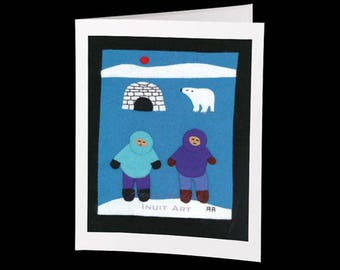 "Inuit Greeting Card #17 ""Annie's Mom and Dad had a Visitor"" by Annie Aculiak"